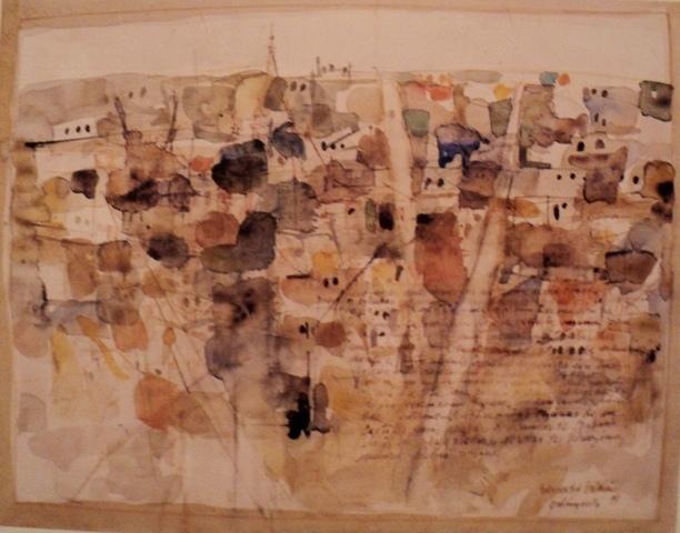 "Edgardo Catalán; ""Palimpsesto"", Acuarela, 47x38 cms. 1998."
